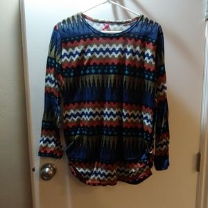 Tribal patterned side rouching sweater